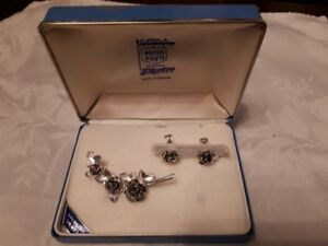 Bond Boyd sterling silver pin with roses and matching earrings