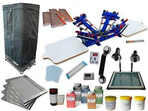 4 Color 2 Station Screen Printing Simple Press Kit Exposure & Dryer