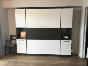 NEARLY NEW: High-end murphy bed with wardrobe and niche
