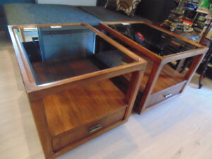 Wood Glass End Tables(TRAIL)