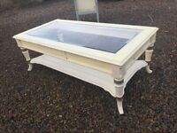 Coffee table glass top shabby chic cream