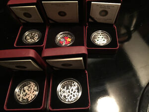 Silver,.999, coin, ROYAL CANADIAN MINT, GLASS, CRYSTAL,lot of 5