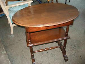 antique walnut hall or side table with drawer
