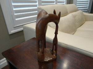 "Solid Hand Carved Wood Deer & Baby Fawn -A lovely 12"" tall Piece Kitchener / Waterloo Kitchener Area image 2"
