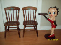 SET OF 2 ANTIQUE HARD WOOD CHILD'S CHAIRS * WAS $90 *