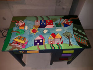 "Hand Painted Tole Desk – ""The Village"""