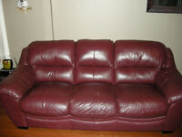Matching Red Leather Couch and Chair