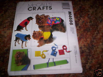 DOG CLOTHES SEWING PATTERNS M4686 COAT VEST LEASH MAT XS-LG  UNCUT