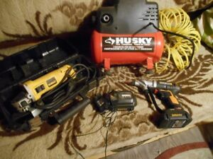 Hand grinder, Air Compressor and Hand drill