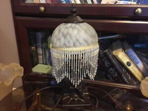 Vintage beaded white dot satin art glass figural angel lamp