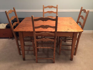 Kitchen Table and Four Chairs made from reclaimed wood