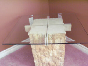 ****BEAUTIFUL MULTI/FACE STONE /BEVELLED GLASS TABLE**** Stratford Kitchener Area image 5