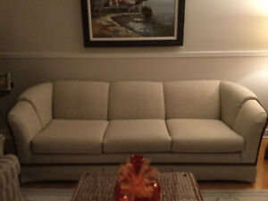 Sofa and two arm chairs by Sklar Peppler in excellent condition.
