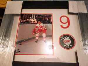 Gordie Howe signed Red Wings puck display with steinersports COA