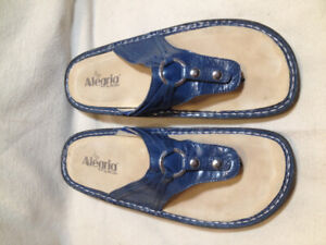 Alegria Royal Blue Genuine Patent Leather Thong Sandals  10M