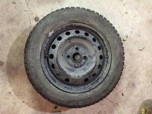 "15"" studded M&S tires on rims - hardly used!"