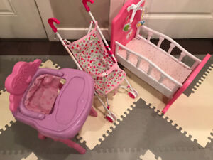 toys crib,high chair and stroller