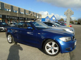2008 (08) BMW 120i SE CONVERTIBLE Petrol Blue A/C Alloys Low Mileage Manual FSH