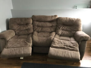 Beige theatre style couch for sale