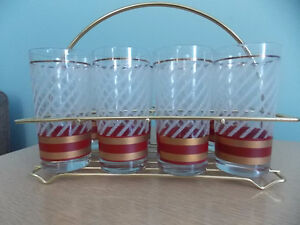 Set of 8 Vintage Drinking Glasses with Carrying Caddy