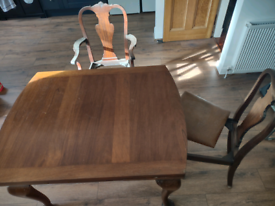 Antique extending dining table and 6 chairs set Mahogany?