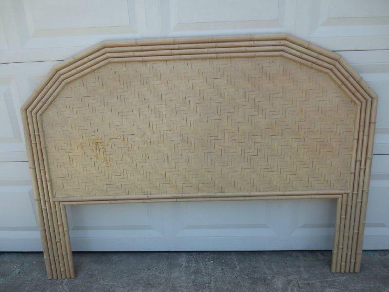 Faux Bamboo Queen Size Headboard Flat Rattan Wicker Cottage Coastal Shabby