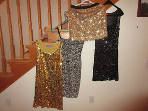 Black, Silver  (top and dress) & Gold skirt and dress   Size 4