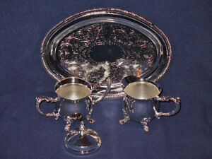 Silver Plated Miniature Sugar & Creamer Set with Tray
