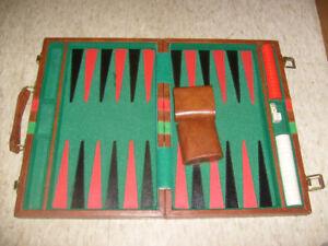 Backgammon Set in a Case 15 1/4 x 10 1/2 x 2 1/8 closed. Taiwan.