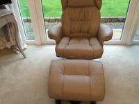 Brand New Relaxateeze Top Grain Leather Reclining Chair and Matching Foot Stool