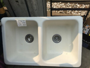 Vintage enamel cast iron double sink