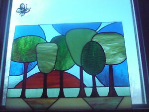 Trees and Inukshuk stained glass