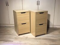 Pair of 2 drawer bedside table / filing cabinet drawer units