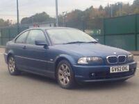 2002 (Dec 52) BMW 318 Ci SE - 2 Door Coupe - Manual - Petrol - BLUE *MOT/LEATHERS/ALLOYS/CHEAP/MINT*
