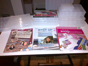 Scrapbook supplies. Containers and Books