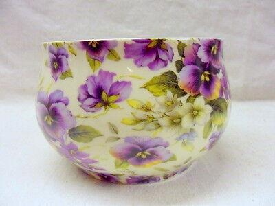 Pansy Chintz (Purple pansy chintz design open sugar bowl by Heron Cross Pottery)