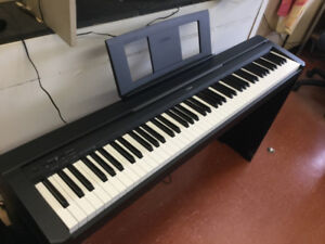 Yamaha P45 Digital Piano with stand, and sustain pedal.