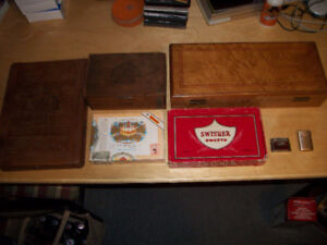 Vintage Cigar Boxes & 2 Vintage Lighters