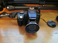 "CANON SX 50 HS POWERSHOT CAMERA, 72"" TRIPOD, CASE, and MORE"