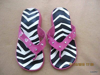 Gymboree Wild One Zebra Print Rhinestone Pink Black White Shoes Flip Flops 13-1 Wild One Black Zebra