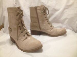 Marc Fisher Beige Leather Short Combat Style Boots 10/ 10.5M