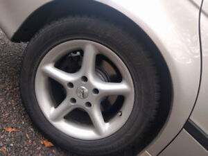 Alloy rims for BMW 5 series, with winter tires
