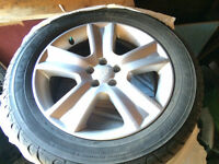 """17"""" Aluminum rims with tires from 2006 Subaru Outback"""