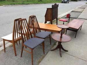 Antique items including furniture for sale