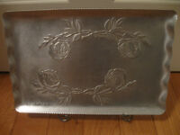 """VINTAGE 9"""" x 13"""" PEWTER SERVING TRAY with FLUTED EDGE"""