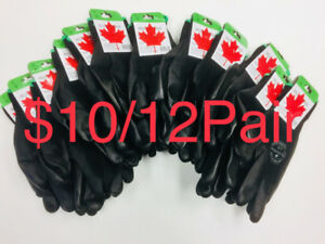 $10/12 Pairs Black Pu Coated Nitrile latex Work Gloves