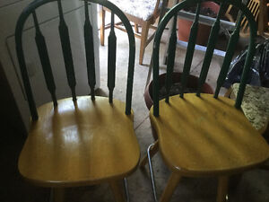 Swivel bar stools  - wooden with metal foot rail