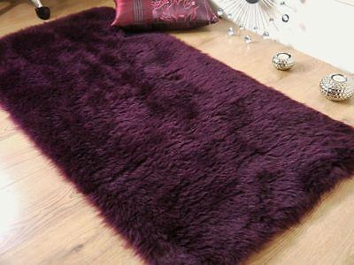 Plum Aubergine Faux Fur Sheepskin Style Oblong Rug 70 x 140cm Washable