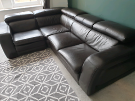 Dark Brown Leather 3 Piece Sofa Suite Couch Settee