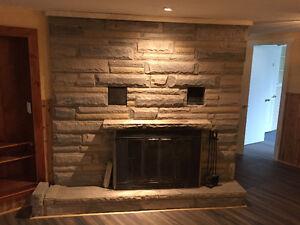 FREE Wood Burning Fireplace Insert + Stone Surround